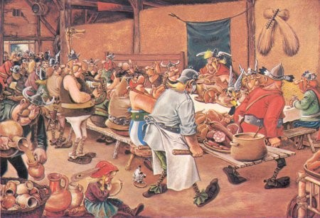 The Asterix version of the Belgian feast, complete with boar meat and Dogmatix/Idéfix licking a plate under Obelix's seat