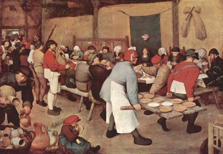 The original painting of a village wedding feast by Breughel the Elder